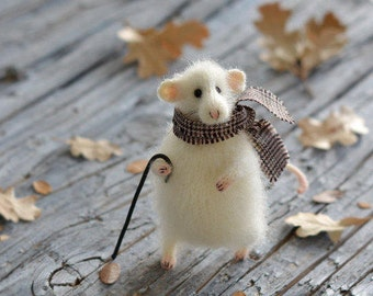 White mouse figurine knitted mouse toy funny mouse felt mouse art doll gift for dad stuffed animal cat lover gift room decor