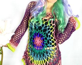 Floral Mandala Mesh Sweater Dress / Hippie Retro Mandala Sweater / Beach Festival Yoga Layering Coverup