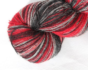 KAUNI Estonian Artistic Wool Yarn Red Grey  8/1 Art Wool  Yarn for Knitting, Crochet
