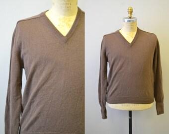 1960s Lord Jeff Brown Men's Wool Sweater