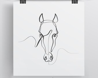 Horse Wall Art, Horse Print, Horse Gift, Horse Portrait, One Line Drawing, Minimal Horse Art, Equine Art, Equestrian Art, Single Line