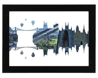 Bristol Skyline Print with aerial city photo of the suspension bridge