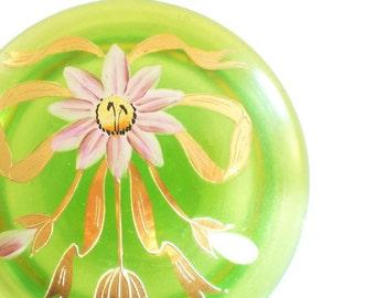 Vintage Glass Trinket Box Green Enameled Glass Powder Jar Art Deco Glass Jewelry Box Gift for Her