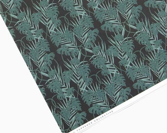 Black Tropical Palm Patterned Wrapping Paper Sheet - 'Kun' design