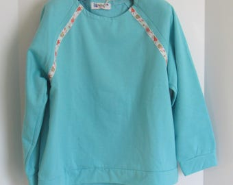 Handmade, Hand Sewn,  Womens Sweatshirt, Womens Pullover, Pullover Sweatshirt. Sweatstshirt Fabric, Gift for Her, Comfy Sweatshirt, aqua