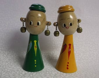 Mid Century Modern Napco Kokeshi Wooden Salt and Pepper Shakers