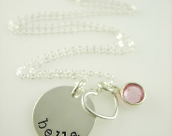 Girls Hand Stamped Name Charm Heart Necklace - Hand Stamped Jewelry - Personalized Necklace