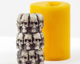 Skulls Cylinder Candle Silicone Mold
