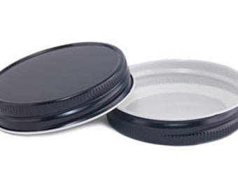 12 pcs Black Mason Jar Lid for Regular Mouth Mason Jars- BPA Free, Plastisol Lined