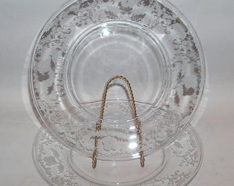 8104: Vintage Fostoria Shirley SET 2 Dinner Plates Etched #331 Elegant Glass at Vintageway Furniture