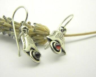 sterling silver earrings garnet stone dangle short small antique style