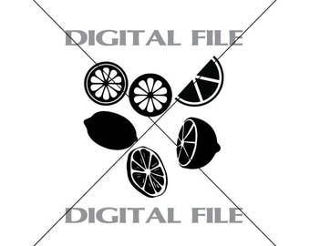 Six Lemons Vector Images Vinyl Decal T-shirt Digital Cutting Files ,Svg File, Ai, Eps, PNG