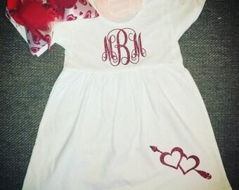 Valentine's dress - valentines day Dress- white monogram dress- white valentines day dress- red monogram dress- Valentine outfit-heart dress