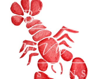 RED MAINE LOBSTER Watercolor Clipart
