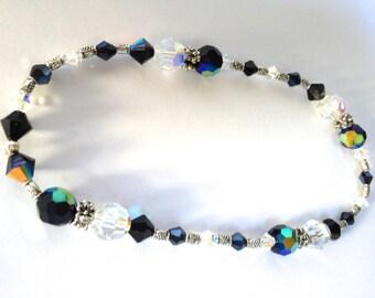 Black Anklet, Beaded Anklet, Ankle Bracelet, Swarovski Jewelry, Beachy Jewelry, Crystal anklet, Tibetan silver