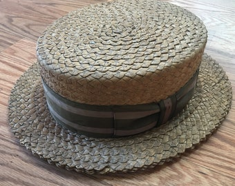 Vtg Men's Straw Boater Skimmer Barbershop Hat by LEE Fifth Ave 1920s-30s