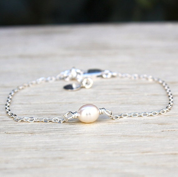 925 silver bracelet freshwater pearls on chain