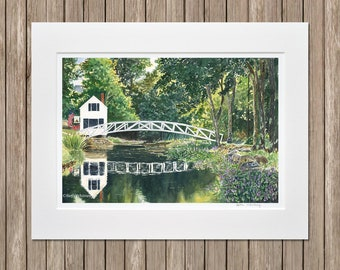 Somesville Bridge Art Print - Reflection Pond, White Arched Bridge - Matted Landscape Painting Print - Mount Desert Island, Maine