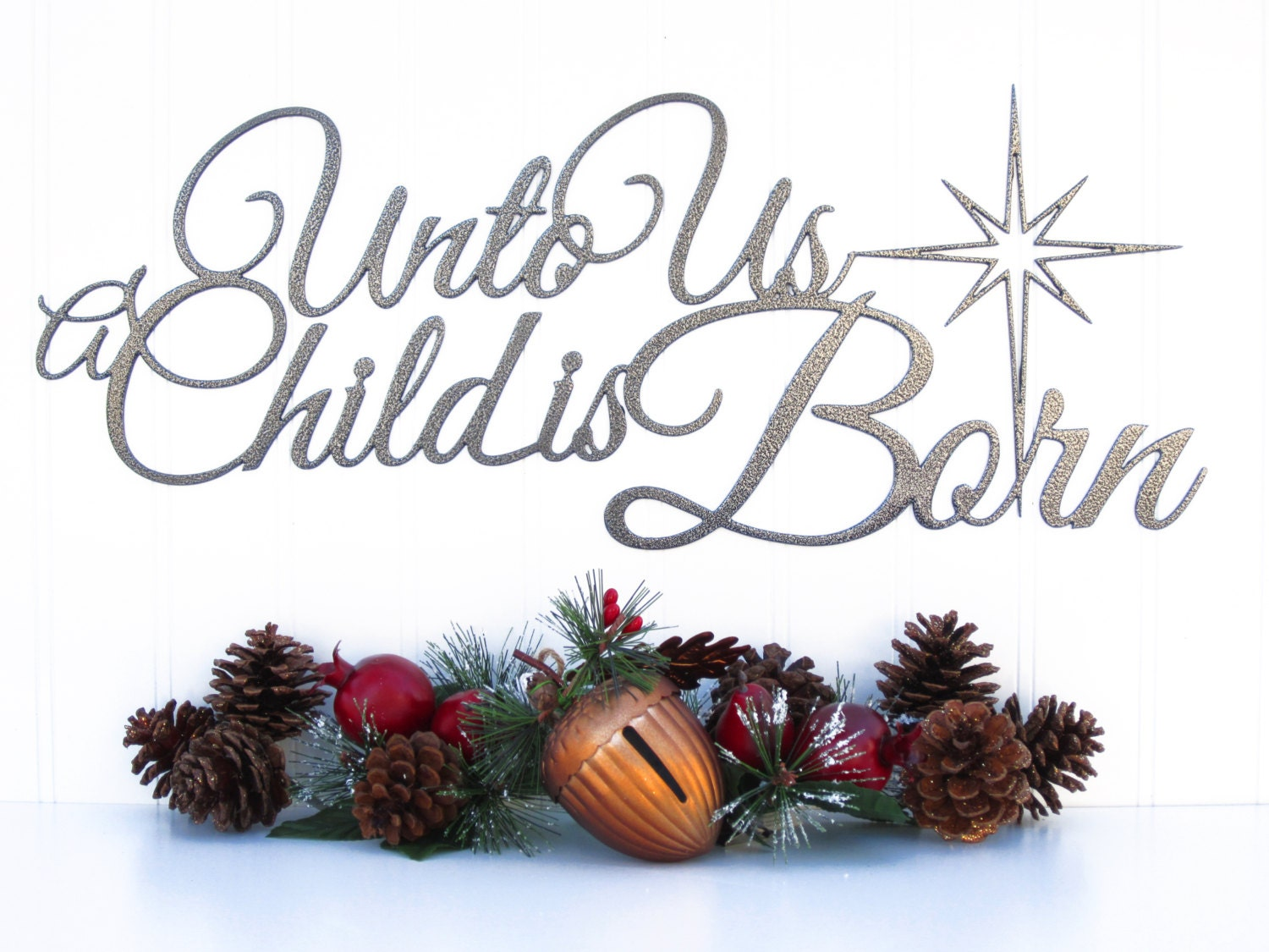 Religious Christmas Quotes Unto Us A Child Is Born Christmas Metal Sign Silver 19.5X8