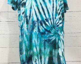 Ladies Large/XL Green & Blue Swirl Tie Dye V-Neck Cover Up Beach Lounge Dress