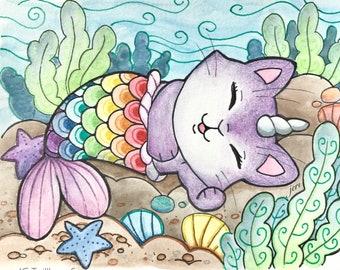 original watercolor art, mermay rainbow kitty