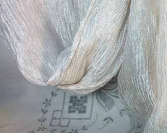 Metallic Crinkle Silk - Cream and Silver Crinkle Silk - Crushed Silk Organza - Tissue ORganza - Silk Metallic Organza - 1 yard