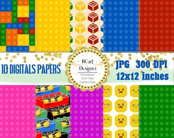 Lego Building Blocks Digital Paper Pack Includes 10 for Scrapbooking Paper Crafts