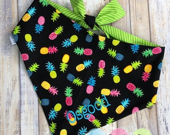 Personalized Pineapple Dog Bandana - Reversible Pet Scarf  - The Best Custom Puppy Gifts by Three Spoiled Dogs