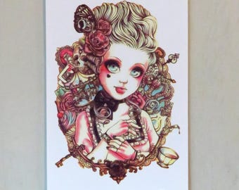 Steampunk Doll Tattoo Sheet - 1 Pc