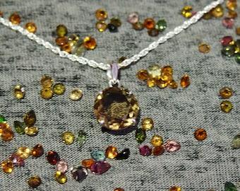 Natural smoky pendant Gemstone pendant Brown gem 925 Sterling silver Smoky quartz pendant Brown crystal Gemstone jewelry Smokey pendant