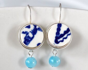 Simple Circle Broken China Earrings - Blue and White with Blue Beads
