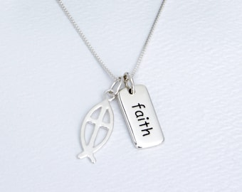 Ichthys Fish Cross Necklace, Christian Ichthus Gift, Silver Word Charm, Jesus Fish Gift Her, Religious Fish Charm, Sterling Jesus Fish