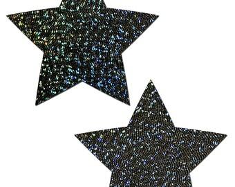 Pasties - Rockstar: Black Glitter Star Nipple Pasties by Pastease® o/s