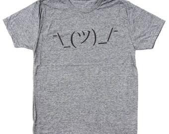 Shrug Lol Idk Face Funny Internet Meme Geek Men's Tri-Blend T-Shirt DT1318