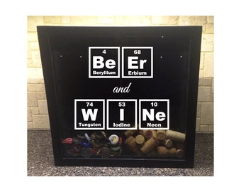 """His & Hers, Beer Cap and Wine Cork Holder - Beer and Wine Periodic Table Elements - Shadow Box (12"""" x 12"""")"""