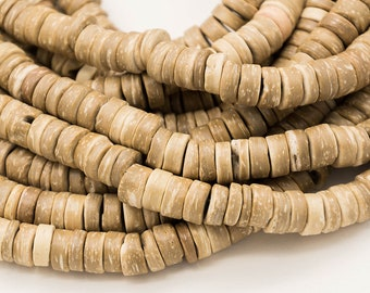 Coconut  Beads, 8mm, Tan, 15 Inch Strand, Dyed Nut Beads -B2260