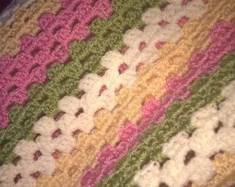 Candy coloured baby pram cot blanket