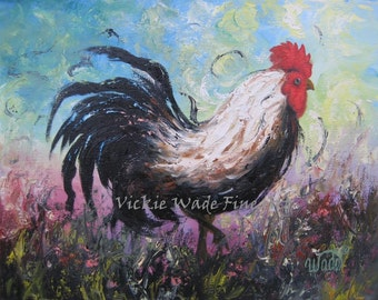 ROOSTER Art Print, rooster paintings, chicken paintings, kitchen decor, rooster wall art, rooster decor, roosters, Vickie Wade paintings