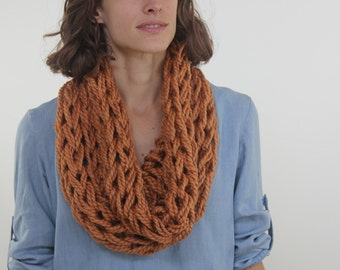 Large Cowl Scarf / Harvest / Arm Knitted