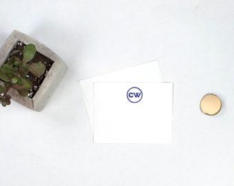 Personalized Flat Note Cards - Hanko Monogram