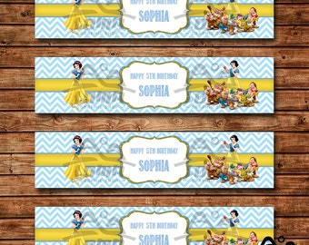 Snow White Water Bottle Label, Snow White Birthday, Disney Princess , Princess Birthday Water Bottle Label, Snow White and Seven Dwarfs