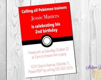 Pokemon pokeball birthday invitation — Digital