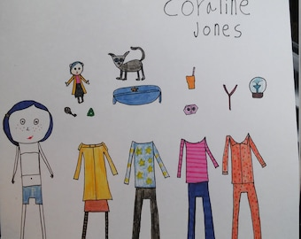 Coraline Jones Paper doll with clothes and accessories