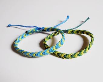 Macrame friendship bracelet - thread bracelet, men surf bracelet - women adjustable bracelet - wax cord bracelet, knotted macrame bracelet
