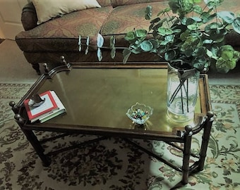 Chapman Vintage Brass and Wood Coffee Table