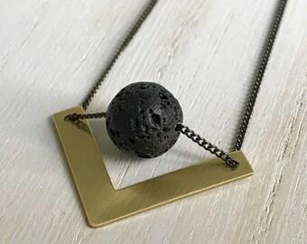 Geometric Lava Necklace, Lava Necklace, V Necklace, Layering Necklace, Black and Gold Necklace, Minimalist Necklace, Modern Necklace, Gifts