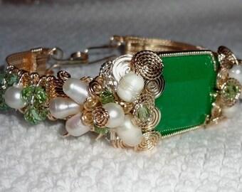 Green China Jade Natural Huge 51ct Octagon Jade gemstone, Pearls, Swarovski Crystals, 14kt yellow gold Bangle Bracelet