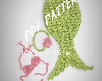 Mermaid Photography Prop Set crochet PATTERN pdf (instant download)