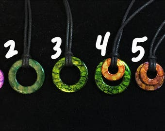 Painted Washer Pendant Necklaces