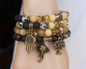 Bohemian Bracelet Set, Stack Bracelet, Set of 4, Boho Chic Jewelry